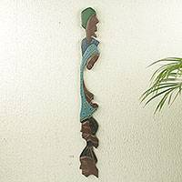 African wood wall sculpture, 'Family Reunion'