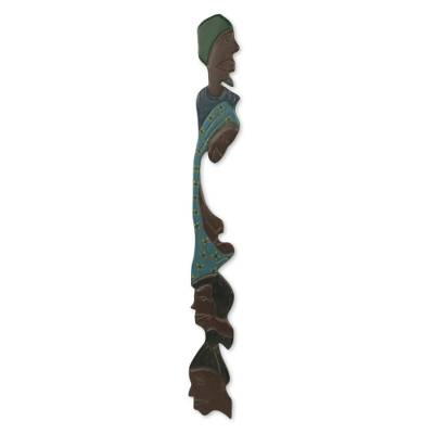 African wood wall sculpture, 'Family Reunion' - Family Themed Wood Wall Sculpture Handmade in Ghana
