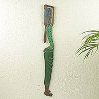 African wood wall sculpture, 'Konsuo' - Hand Carved and Painted African Wood Wall Panel