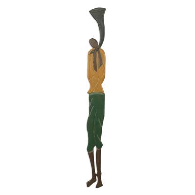 African wood wall sculpture, 'Palace Horn Blower' - Colorful Wood Wall Sculpture of African Horn Blower
