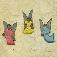 Wood ornaments, 'Peace Be On Earth' (set of 3) - Rustic Hand Made Wood Angel Ornaments from Ghana (Set of 3)