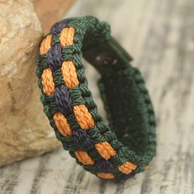 Men's wristband bracelet, 'Golden Dot' - Hand Woven Men's Cord Bracelet in Green, Navy and Gold