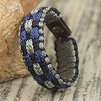 Men's wristband bracelet, 'Flowing Spring' - Blue, Gray and Black Woven Cord Bracelet for Men