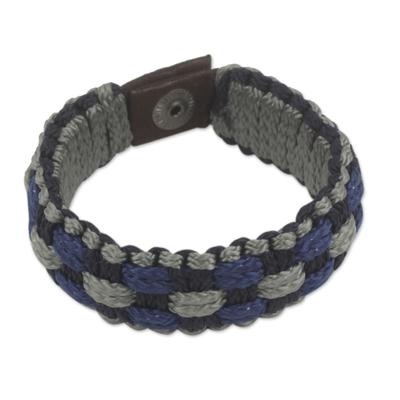 Men's wristband bracelet, 'Flowing Spring' - Blue, Gray and Black Woven Cord Bracelet for Men