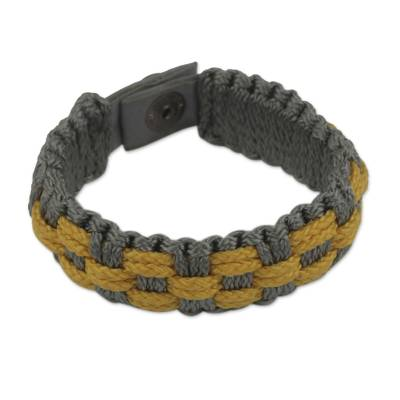 Woven Wristband Bracelet for Men in Gray and Gold