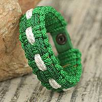 Men's wristband bracelet, 'Seed Time' - Hand Woven Green and White Bracelet for Men from Ghana