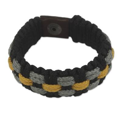 Hand Made Cord Bracelet for Men in Black, Gray and Yellow