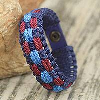 Men's wristband bracelet, 'Midnight Breeze' - Multicolored Men's Woven Cord Bracelet from West Africa
