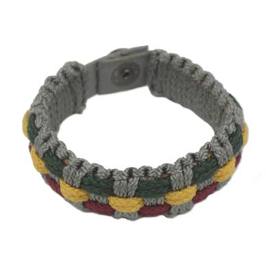 Gray, Green, Wine and Gold Woven Cord Bracelet for Men