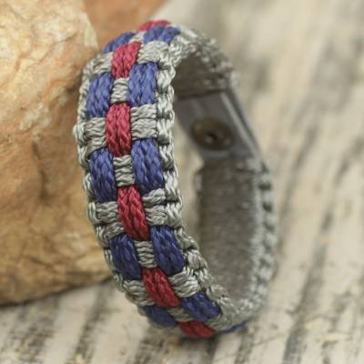 Men's wristband bracelet, 'Love and Honor' - African Hand Crafted Men's Woven Cord Bracelet