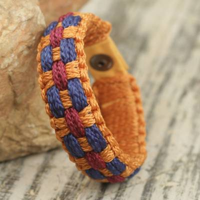 Men's wristband bracelet, 'Eternal Fire' - Hand Woven Orange, Wine and Blue Cord Bracelet for Men