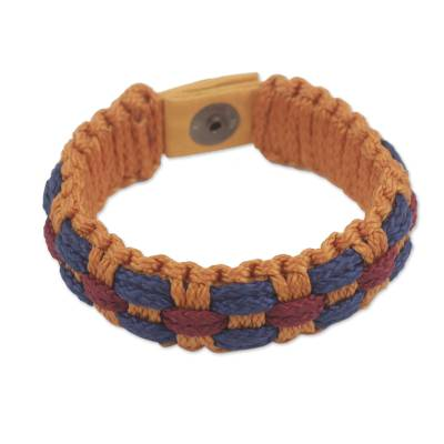 Hand Woven Orange, Wine and Blue Cord Bracelet for Men