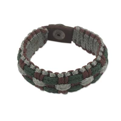 Gray, Green and Brown Hand Woven Cord Bracelet for Men