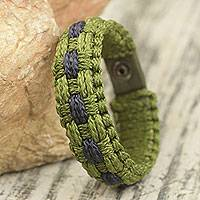 Men's wristband bracelet, 'Perfect Peace' - Fair Trade African Woven Cord Wristband Bracelet for Men