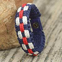 Men's wristband bracelet, 'Brilliant' - Hand Made Red White and Blue Men's Cord Bracelet
