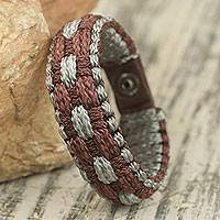 Men's wristband bracelet, 'Earth Sense' - Hand Woven Brown and Gray Polyester Cord Men's Bracelet