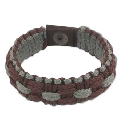Hand Woven Brown and Gray Polyester Cord Men