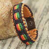 Men's wristband bracelet, 'Good Vibes' - Men's Colorful Hand Woven Cord Bracelet from Africa