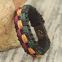 Men's wristband bracelet, 'Genesis' - Colorful Woven Cord Wristband Bracelet for Men from Ghana