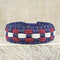 Men's wristband bracelet, 'Accomplished' - Artisan Crafted Men's Blue Red White Wristband Bracelet