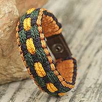Men's wristband bracelet, 'Forgiveness' - Men's Hand Crafted Wristband Bracelet of Woven Cords