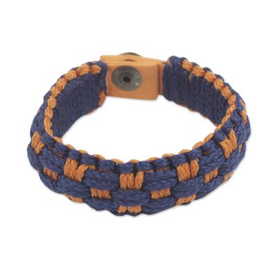 Blue and Orange Hand Woven Cord Bracelet for Men