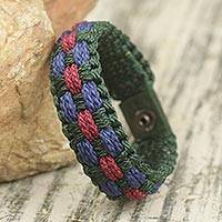 Men's wristband bracelet, 'Sincerity' - African multicoloured Men's Cord Wristband Bracelet