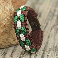 Men's wristband bracelet, 'Valor' - Brown Green and White Men's Wristband Style Bracelet