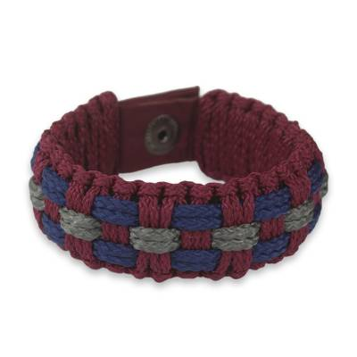 Wristband Bracelet Handcrafted of Colorful Cords
