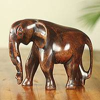 Ebony wood sculpture, 'African Bush Elephant'