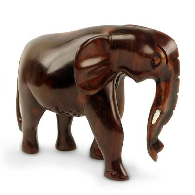 Ebony wood sculpture, 'African Bush Elephant' - Elephant Sculpture Hand Carved from Ebony Wood