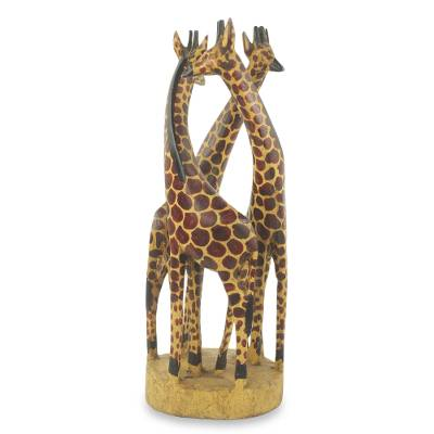 Teakwood sculpture, 'Giraffe Family' - Hand Carved and Painted Giraffe Sculpture from Africa