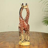 Teak wood sculpture, 'Giraffe Harmony' (large) - African Giraffe Sculpture Carved and Painted by Hand (Large)