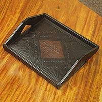 Leather tray, 'African Legacy' - Ghanaian Handcrafted Wood and Leather Serving Tray