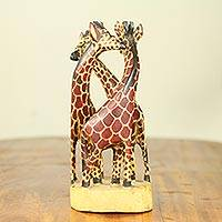 Teakwood sculpture, 'Giraffe Family' (small) - Hand Carved and Painted 9-Inch Teakwood Sculpture