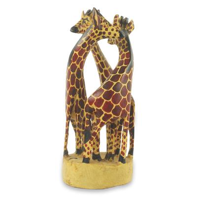 Teak wood sculpture, 'Giraffe Family' (small) - Hand Carved and Painted 9-Inch Teak Wood Sculpture