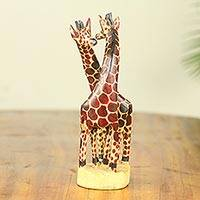 Teakwood sculpture, 'Giraffe Harmony' (small) - African Giraffe Hand Carved 8-Inch Teak Sculpture (Small)