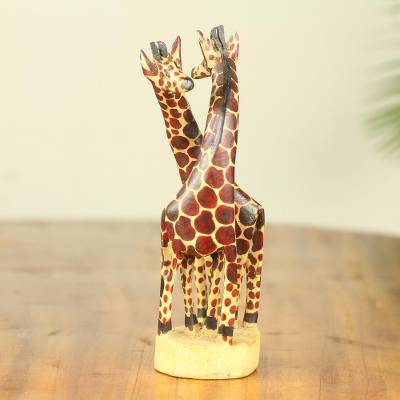 Teak wood sculpture, 'Giraffe Harmony' (small) - African Giraffe Hand Carved 8-Inch Teak Sculpture (Small)