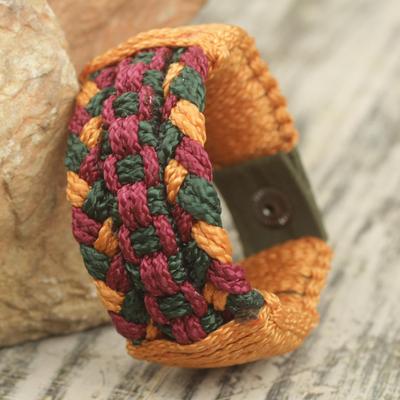 Men's wristband bracelet, 'Jubilation' - Multi Colored Hand Woven Cord Bracelet for Men