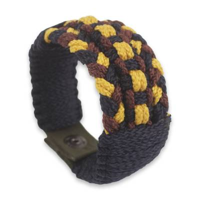 Woven Cord Bracelet for Men in Black Yellow and Brown