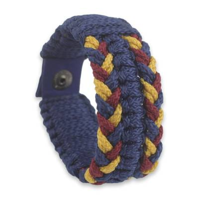 Men's wristband bracelet, 'King's Braid' - Woven Navy, Wine and Yellow Men's Cord Wristband Bracelet