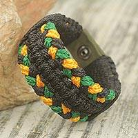 Men's wristband bracelet, 'Golden Braid' - Fair Trade Men's Wristband Bracelet Crafted in Ghana