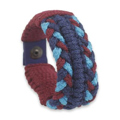 Men's wristband bracelet, 'Royal Braid' - Artisan Made Men's African Woven Bracelet in Blue and Wine