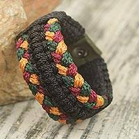 Men's wristband bracelet, 'Barima Braid' - Braided Cord Wristband Bracelet for Men from Ghana