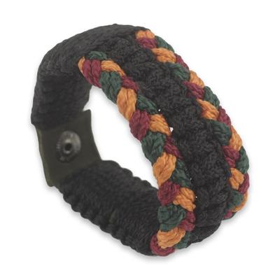 Men's wristband bracelet, 'Barima Braid' - Braided Cord Wristband Bracelet for Men from Ghana