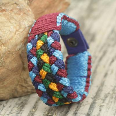 Men's Multicolored Cord Bracelet Braided by Hand in Africa, 'Saturday Night'