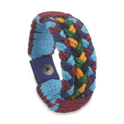 Men's wristband bracelet, 'Saturday Night' - Men's Multicolored Cord Bracelet Braided by Hand in Africa