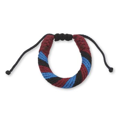 Men's wristband bracelet, 'Krobo Mountaintop' - Men's Multicolored Cord Wristband Bracelet from Ghana