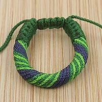 Men's wristband bracelet, 'Krobo Power' - Fair Trade Green and Blue Men's Wristband Bracelet