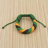 Men's wristband bracelet, 'Krobo Praise' - Green, Yellow and Black Men's Wristband Cord Bracelet